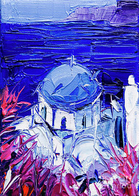 Painting - Santorini Church View - Mini Cityscape 07 by Mona Edulesco