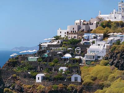 Photograph - Santorini Cliff Dwellers by S Paul Sahm