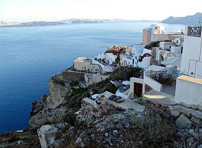 Popstar And Musician Paintings Royalty Free Images - Santorini Cliff Top Homes Royalty-Free Image by Martine Murphy