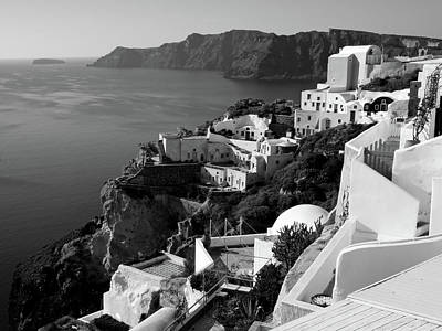 Photograph - Santorini Cliffs In Black And White by Lucinda Walter