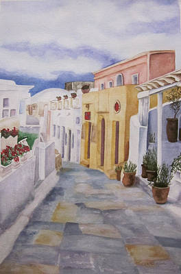Painting - Santorini Cloudy Day by Teresa Beyer
