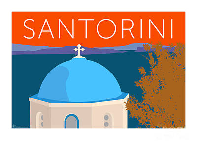 Digital Art - Santorini Dome - Orange by Sam Brennan