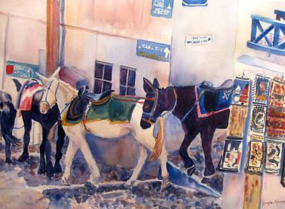 Santorini Donkeys Art Print by Joyce Kanyuk