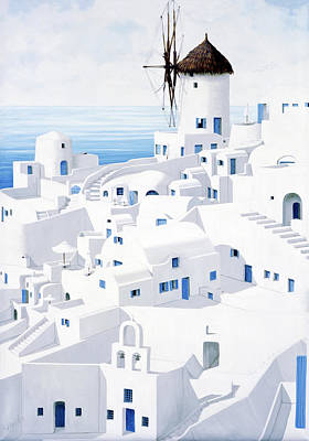 Painting - Santorini, Dwellings- Prints From Mary Grden's Original Oil Painting by Mary Grden Fine Art Oil Painter Baywood Gallery