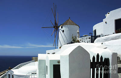 Art Print featuring the photograph Santorini Greece Architectual Line 5 by Bob Christopher