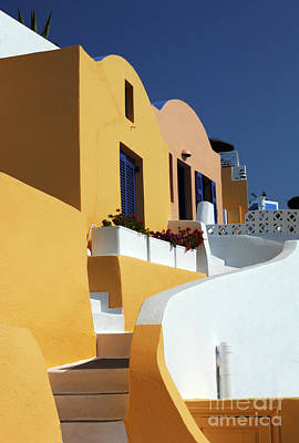 Art Print featuring the photograph Santorini Greece Architectual Line by Bob Christopher