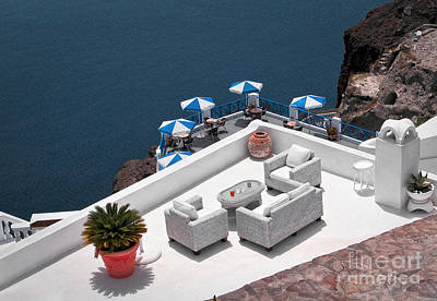 Santorini Photograph - Aerial View Of Santorini, Greece by Dani Prints and Images
