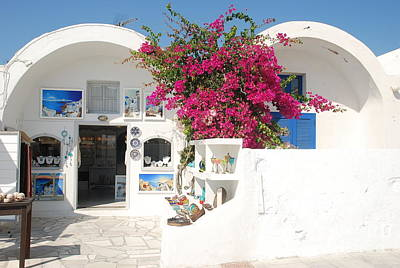 Cyclades Photograph - Oia Santorini Greece Island Shop  by Just Eclectic