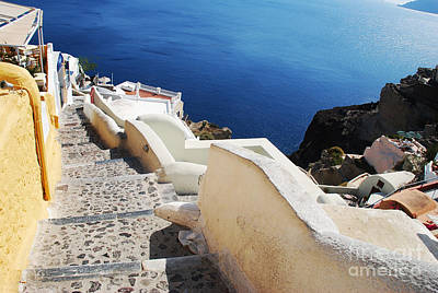 Aegean Sea Photograph - Santorini Greece Steps To Ocean by Just Eclectic
