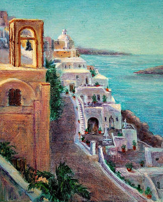 Hotels Of Santorini Art Print