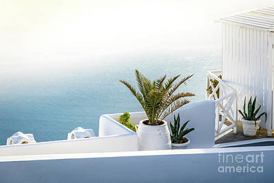 Spa Photograph - Santorini In The Fog - Santorini, Greece by Global Light Photography - Nicole Leffer