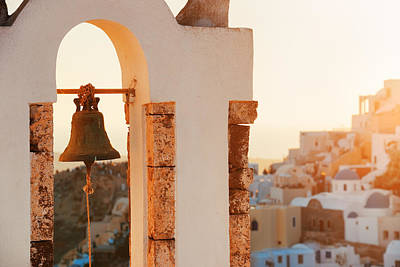 Photograph - Santorini Island Bell Tower Sunset by Songquan Deng