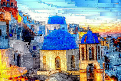 Digital Art - Santorini Island, Greece by Rafael Salazar
