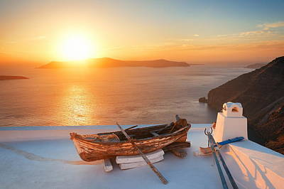 Photograph - Santorini Island Leisure Life Boat Sunset by Songquan Deng