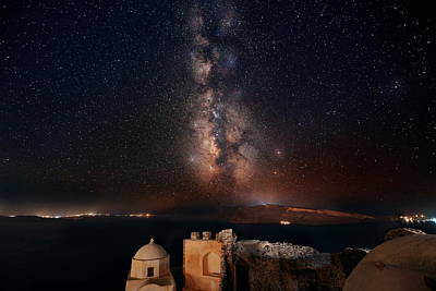 Photograph - Santorini Island With Milkyway by Songquan Deng