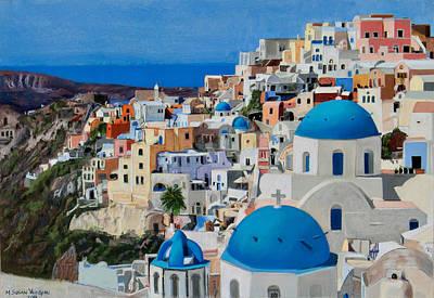 Santorini Art Print by Mary Susan Vaughn