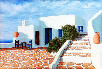 Santorini Morning - Prints From Original Oil Painting Art Print by Mary Grden Fine Art Oil Painter Baywood Gallery