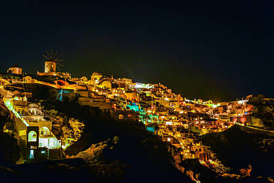 Photograph - Santorini Night Scene by Carmen Tosca
