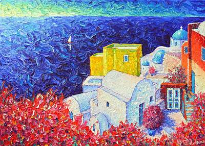 Painting - Santorini Oia Colors Modern Impressionist Impasto Palette Knife Oil Painting By Ana Maria Edulescu by Ana Maria Edulescu