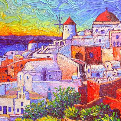 Painting - Santorini Oia Light Modern Impressionist Impasto Palette Knife Oil Painting By Ana Maria Edulescu by Ana Maria Edulescu