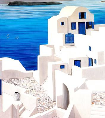 Rooftop Painting - Santorini, Oia - Prints Of Original Oil Painting by Mary Grden Fine Art Oil Painter Baywood Gallery