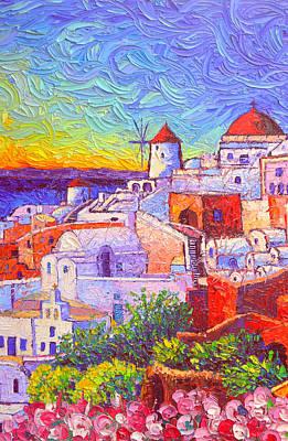 Painting - Santorini Oia Sunset Light Modern Impressionism Impasto Palete Knife Oil Painting Ana Maria Edulescu by Ana Maria Edulescu