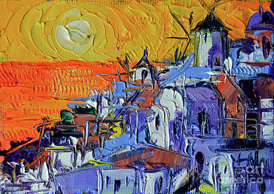 Colorful Abstract Painting - Santorini Oia Sunset - Mini Cityscape 03 by Mona Edulesco