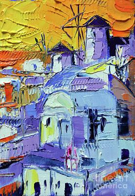 Painting - Santorini Oia Sunset - Mini Cityscape 04 by Mona Edulesco