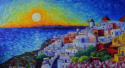 Santorini Oia Sunset Modern Impressionist Impasto Palette Knife Oil Painting By Ana Maria Edulescu Original