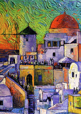 Painting - Santorini Oia Village Impressionist Palette Knives Oil Painting by Mona Edulesco