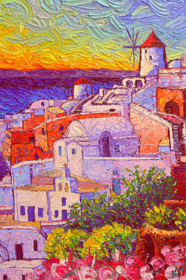 Painting - Santorini Oia Windmills Magic Sunset Light Impasto Palette Knife Oil Painting By  Ana Maria Edulescu by Ana Maria Edulescu