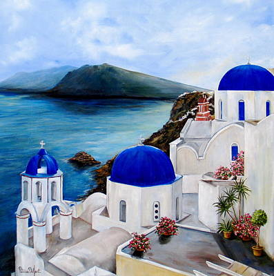 White Mountains Painting - Santorini by Patricia DeHart