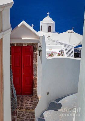 Greek Photograph - Santorini Red Door by Inge Johnsson