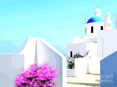 Rooftop Mixed Media - Santorini Rooftop by Clive Littin