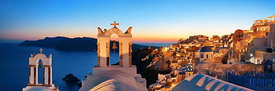 Photograph - Santorini Skyline Night Bell Tower by Songquan Deng