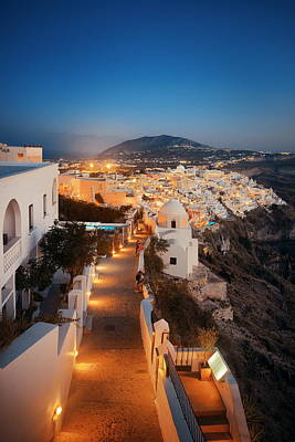 Photograph - Santorini Skyline Night Street by Songquan Deng
