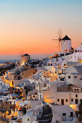 Photograph - Santorini Skyline Sunset Windmill by Songquan Deng