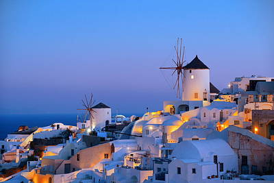 Photograph - Santorini Skyline Windmill by Songquan Deng
