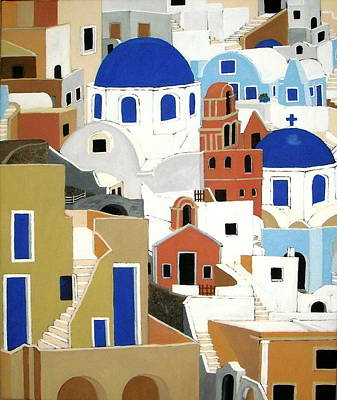 Santorini Art Print by Stephanie Moore