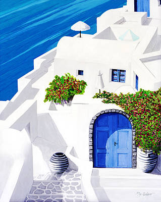 Rooftop Painting - Santorini Sun - Prints From Original Oil Painting by Mary Grden Fine Art Oil Painter Baywood Gallery