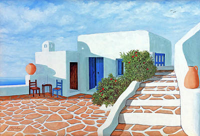 Painting - Santorini Sunday - Prints From My Original Oil Painting by Mary Grden Fine Art Oil Painter Baywood Gallery