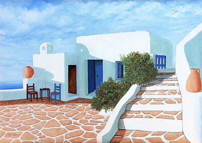 Painting - Santorini Sunday, Prints Made From My Original Oil Painting by Mary Grden Fine Art Oil Painter Baywood Gallery