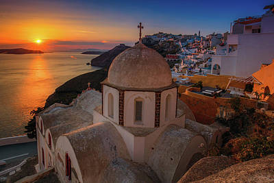Photograph - Santorini Sunset 2  by Emmanuel Panagiotakis