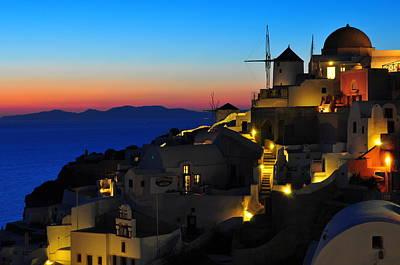 Santorini Photograph - Santorini Sunset by Ian Stotesbury