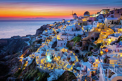 Santorini Photograph - Santorini Sunset by Inge Johnsson