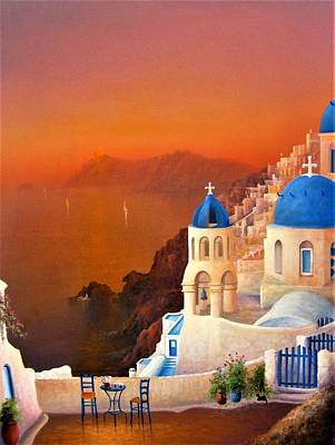 Painting - Santorini Sunset by Joe Gilronan