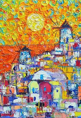 Painting - Santorini Sunset Oia Windmills Modern Impressionist Abstract Cityscape Knife Oil Ana Maria Edulescu by Ana Maria Edulescu