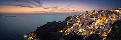 Photograph - Santorini Sunset Panorama by Edwin Mooijaart
