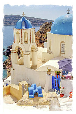 Santorini Wall Art - Painting - Santorini Watercolor by Delphimages Photo Creations