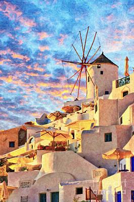 Old Mill Scenes Painting - Santorini Windmill At Oia Digital Painting by Antony McAulay